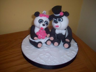 Pandas Bride and Groom Wedding Cake Topper
