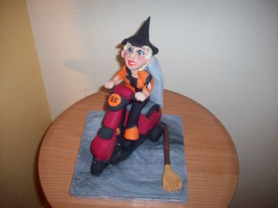 Mobility Scooter Witch Cake Topper