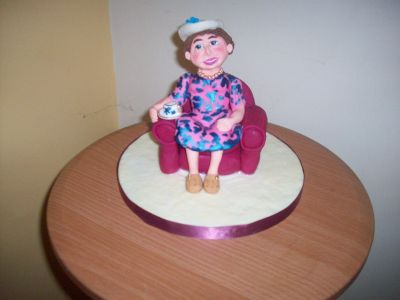 Old Lady in Chair Cake Topper