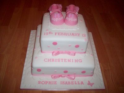Baby Shoes Christening Cake