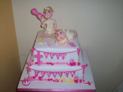 Little Girl and Baby Balloon Christening Cake