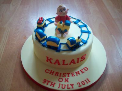 Baby and Train Christening Cake