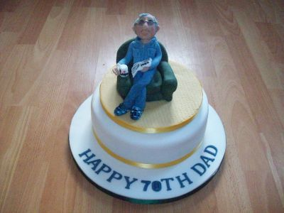 70th Man in Chair Cake