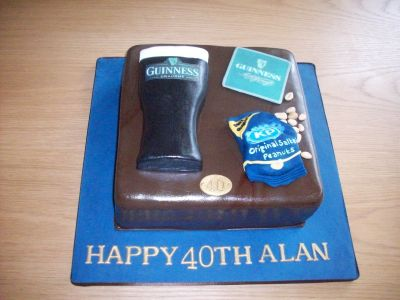 Guinness Peanuts Birthday Cake