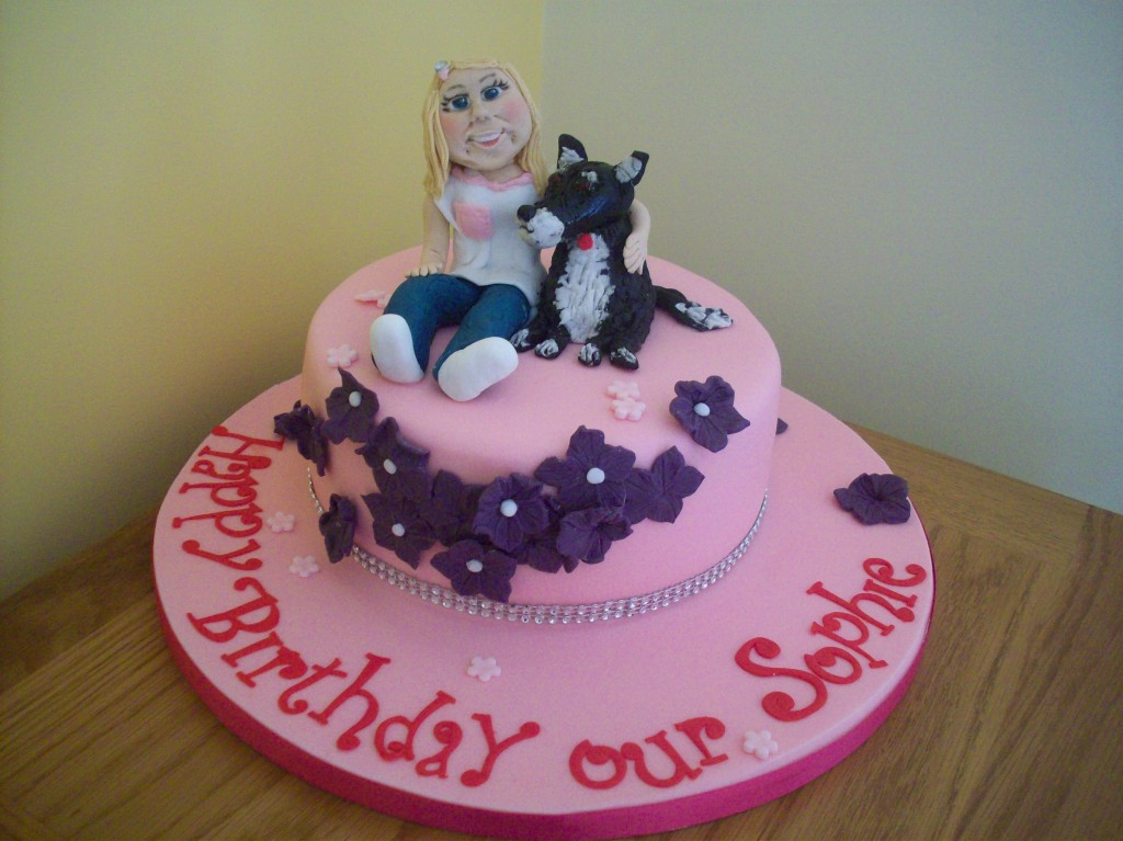 Girl And Her Dog Birthday Cake