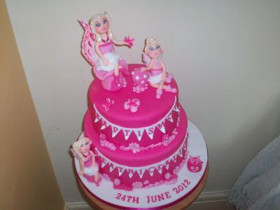 Fairies Pink Christening Cake