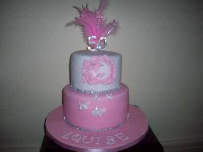 50th Pink White Diamante Birthday Cake