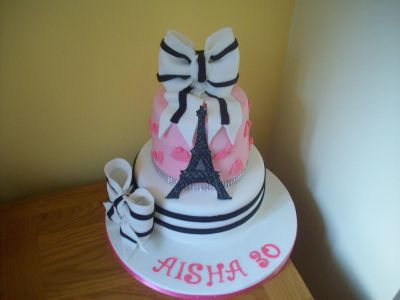 Paris Eiffel Tower Bow Cake