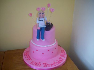 Pink Girl and Cat Birthday Cake