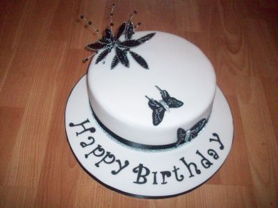 Black and White Butterfly Diamante Cake