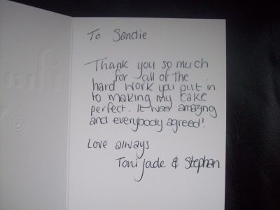 Thank You from Toni Jade and Stephen, Preston