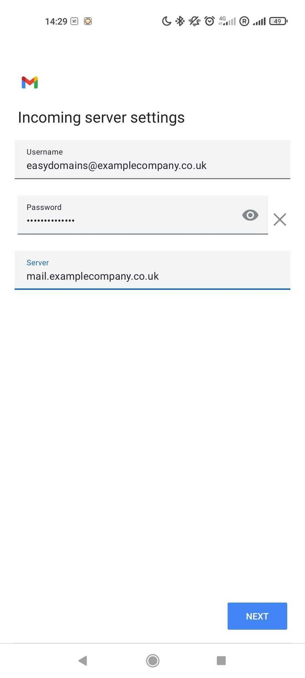 Account setup section of the default Android mail app