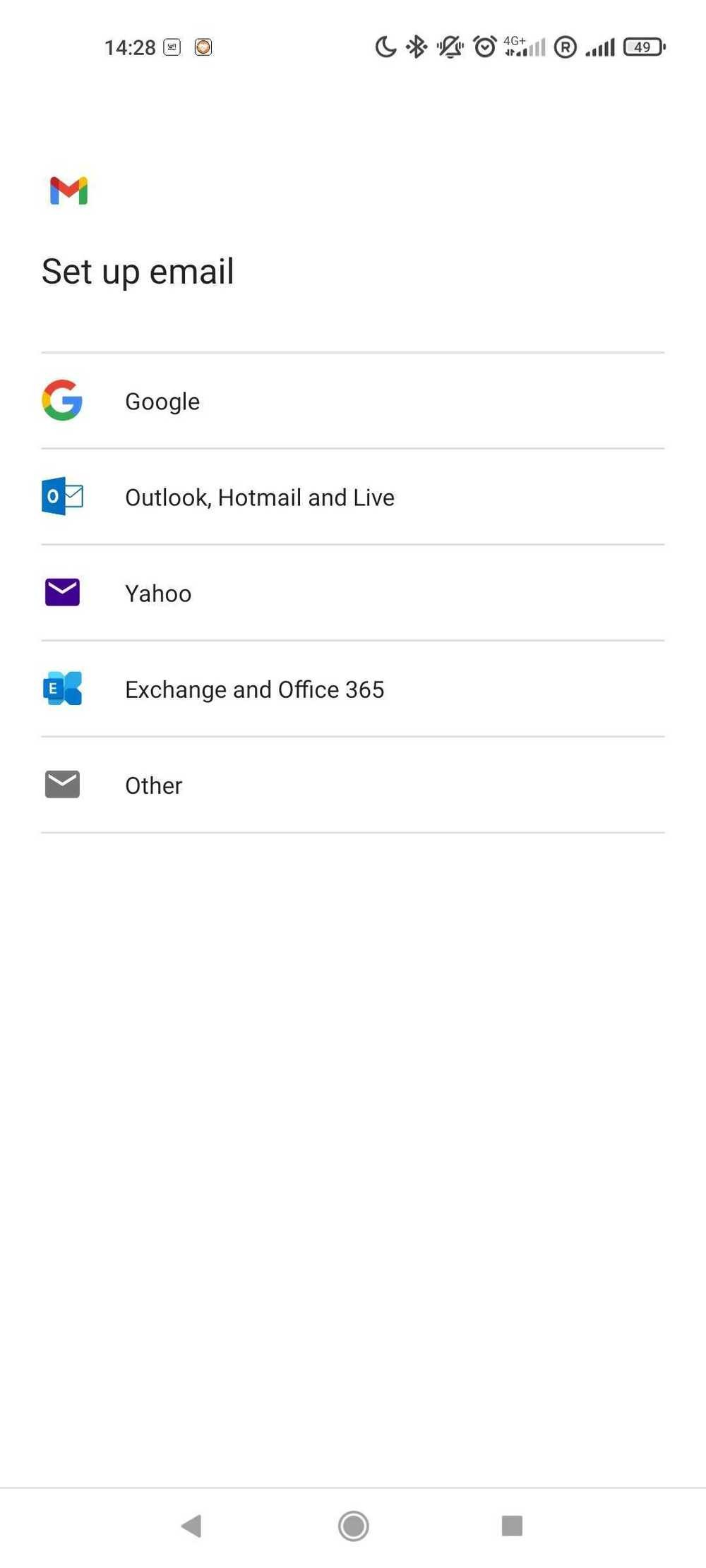 Add account section of the default Android mail app